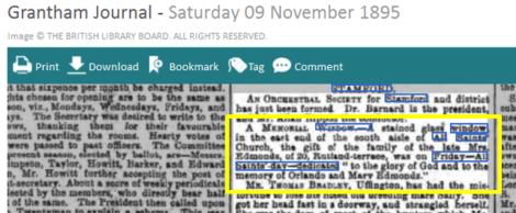 Newspaper-report-1895-Stamford-East-window