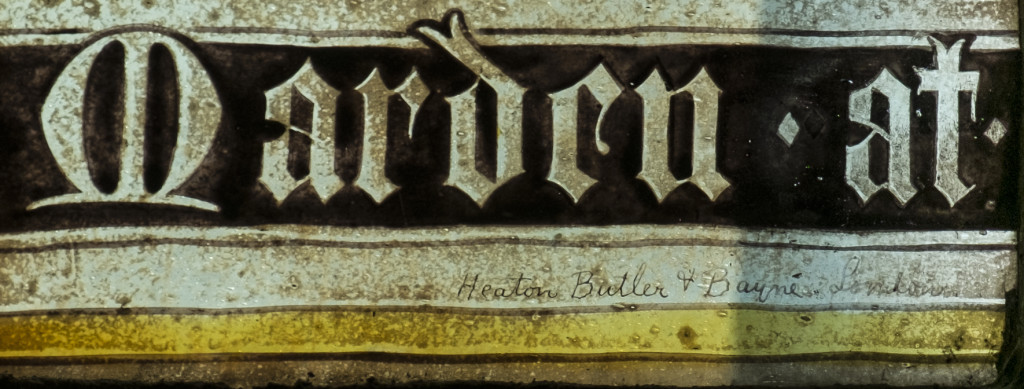 Window sVII by Heaton Butler and Bayne, detail of panel 3a with hand written signature of the artists