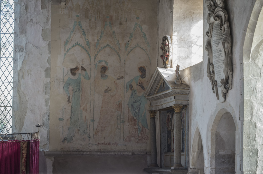 The East end of All Saints' Church, Little Wenham in Suffolk, complete with medieval wall paintings. Photograph by Graham White